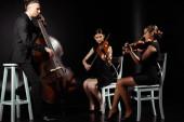 trio profesionálních hudebníků hrajících na hudební nástroje na temném pódiu
