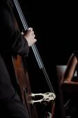 Ausgeschnittene Ansicht professioneller Musiker auf Geige und Kontrabass auf dunkler Bühne