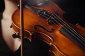 részleges nézet női zenész játszik szimfónia hegedű elszigetelt fekete