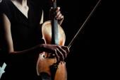 Teilbild einer Musikerin, die auf einer Geige spielt, isoliert auf schwarz