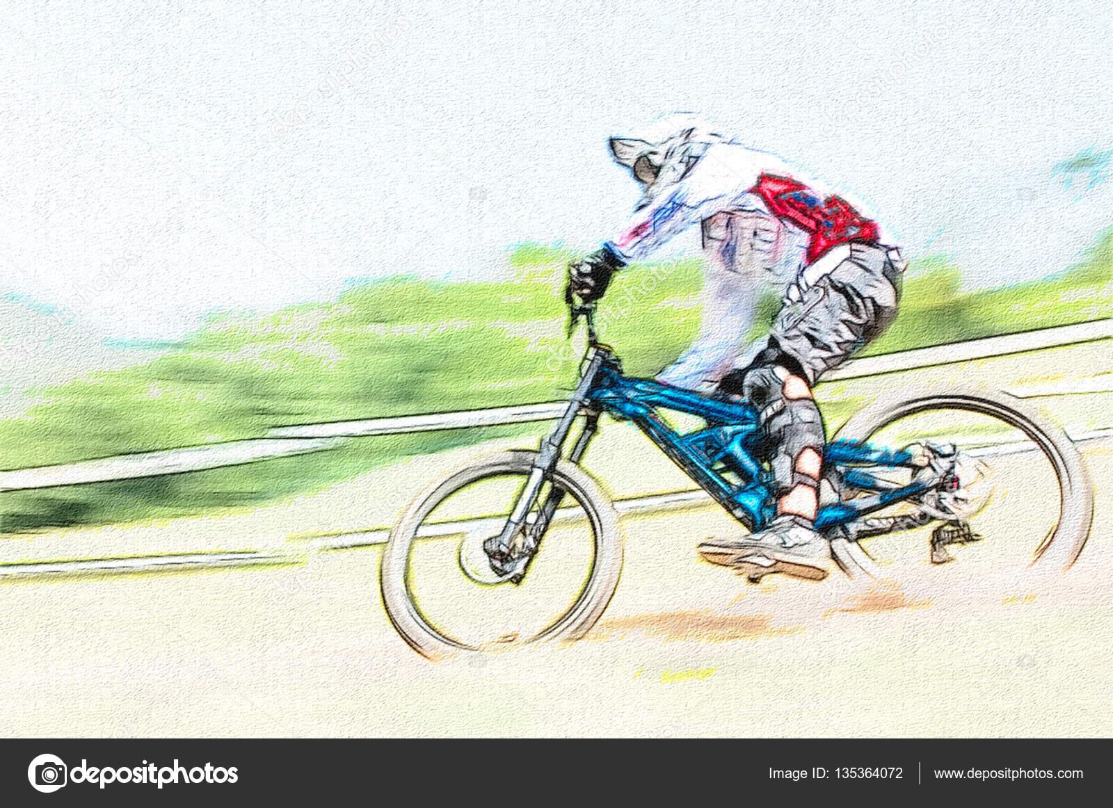 Descenso Ciclista En Competencia Foto De Stock