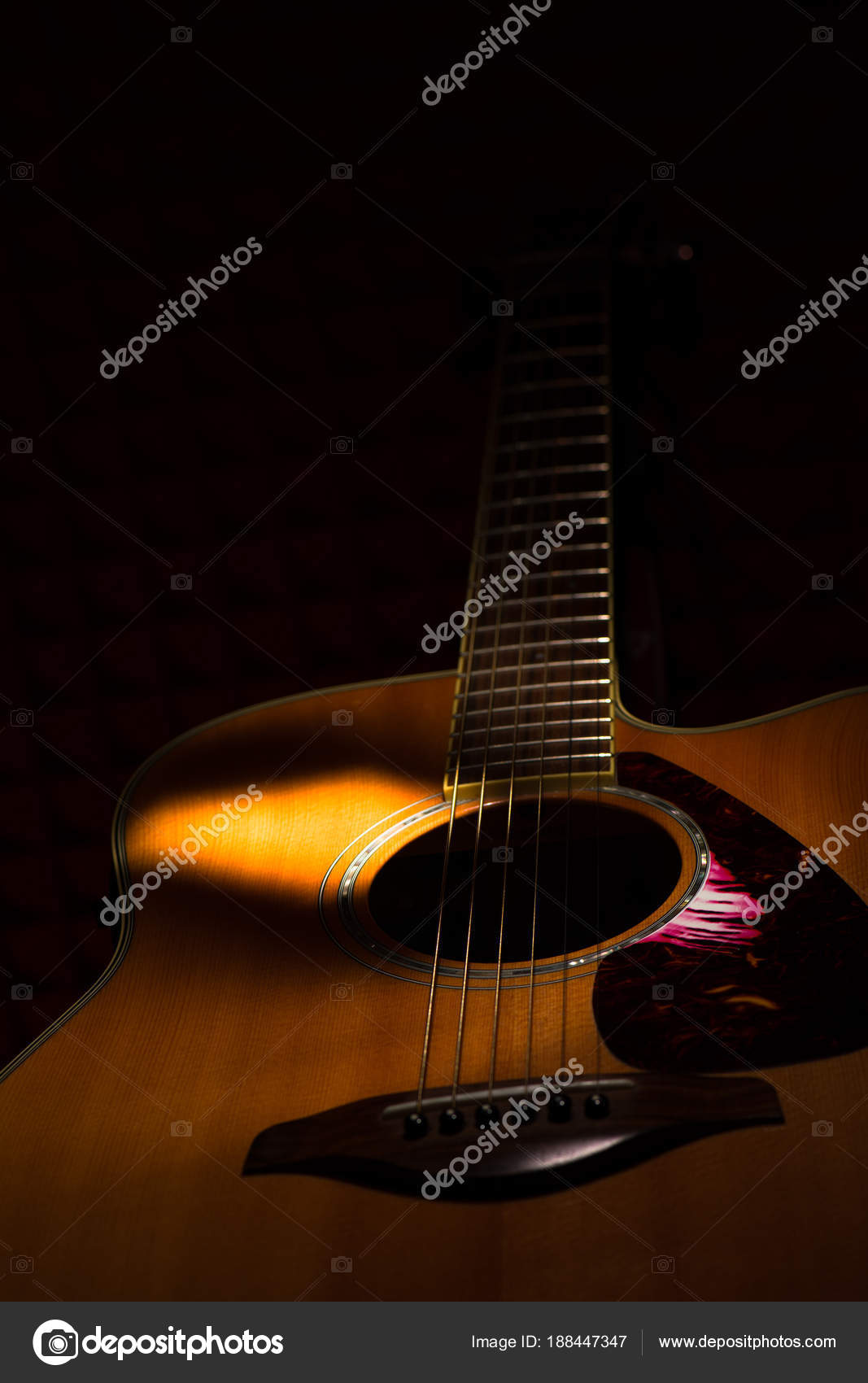 Acoustic Guitar On Black Background Stock Photo C Moprand 188447347
