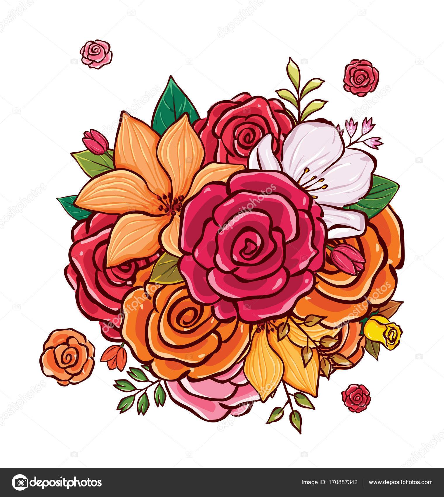 Flower Bouquet Vector Illustration Stock Vector Rijal 170887342