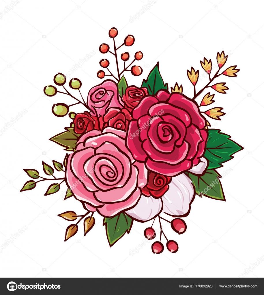 Flower Bouquet Vector Illustration Stock Vector Rijal 170892920