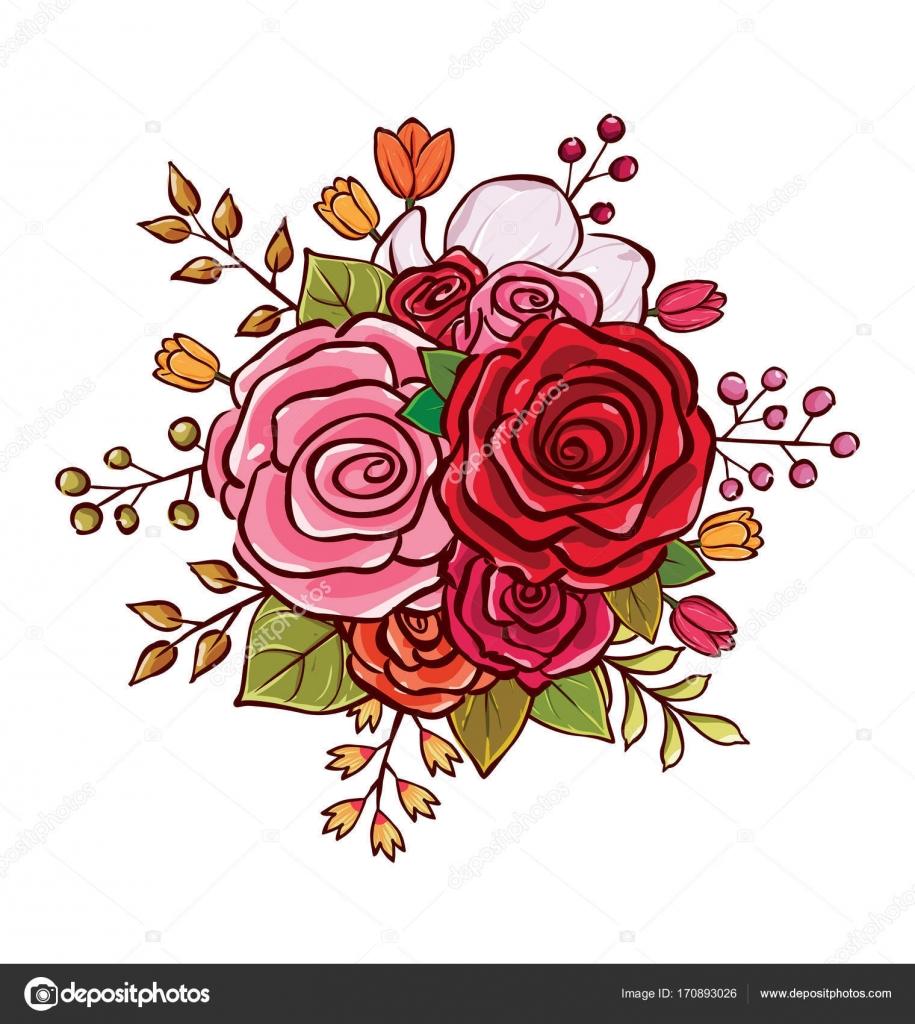 Flower Bouquet Vector Illustration Stock Vector Rijal 170893026
