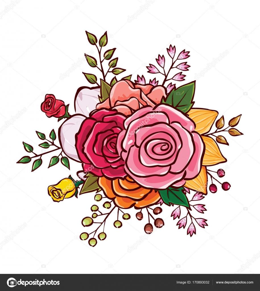 Flower Bouquet Vector Illustration Stock Vector Rijal 170893032