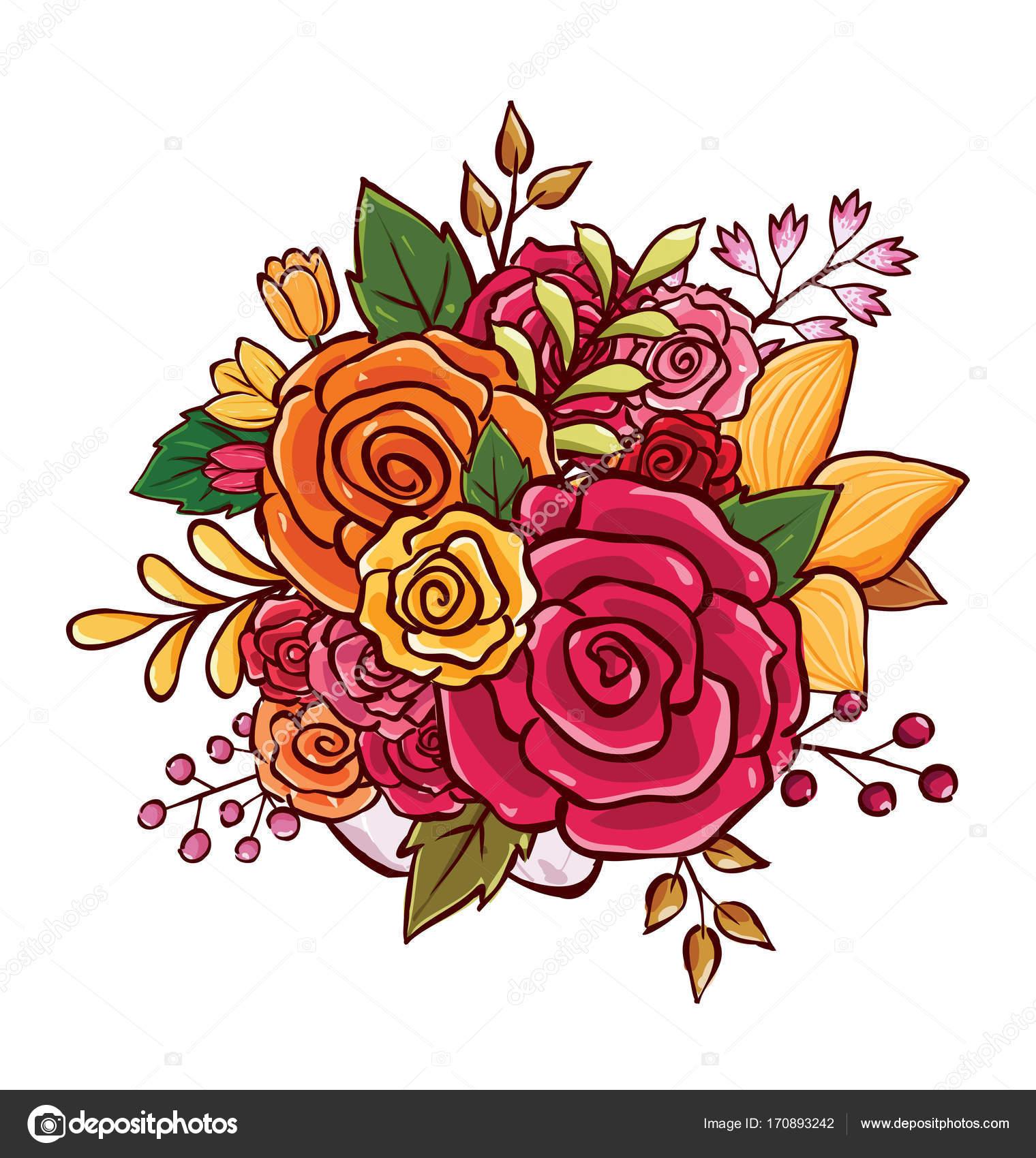 Flower Bouquet Vector Illustration Stock Vector Rijal 170893242