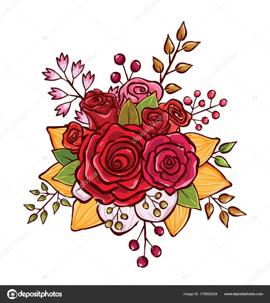 Flower Bouquet Vector Illustration Stock Vector Rijal 170893254