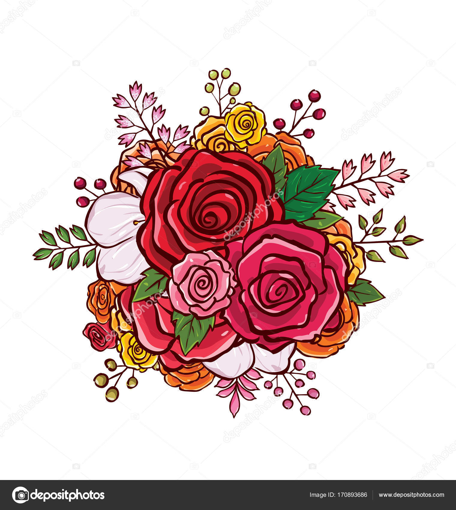Flower Bouquet Vector Illustration Stock Vector Rijal 170893686