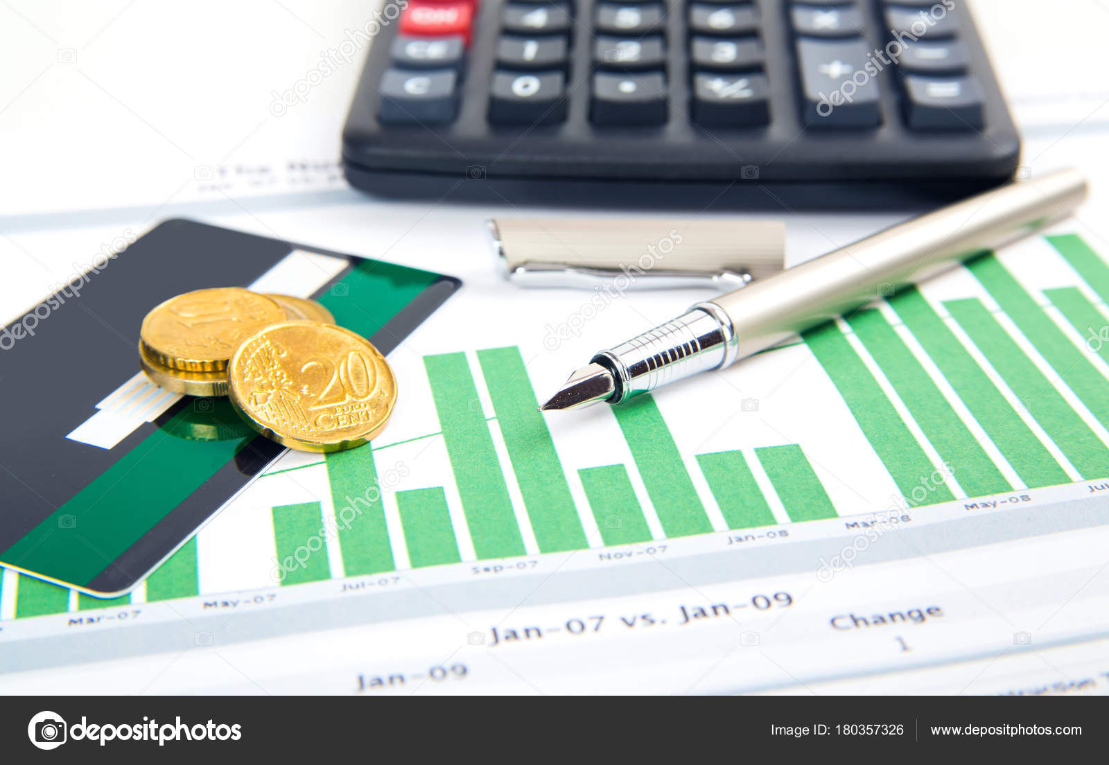coin, a pen and business card on the business papers — Stock Photo ...