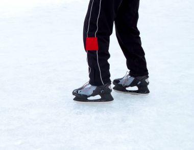 Ice skate on winter ice stock vector