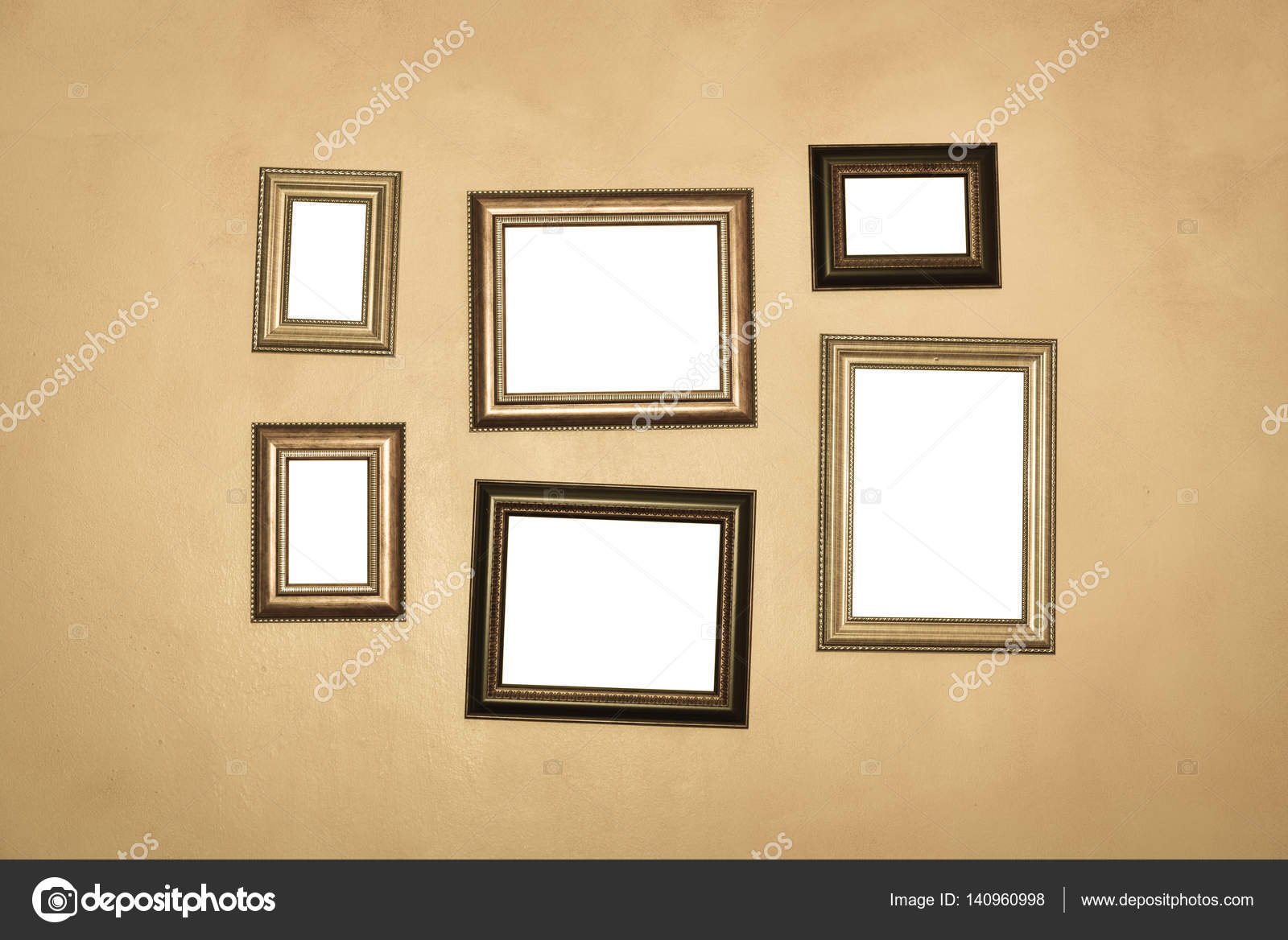 Vintage Traditional Realistic Frames Set On Dark Wall Stock Photo