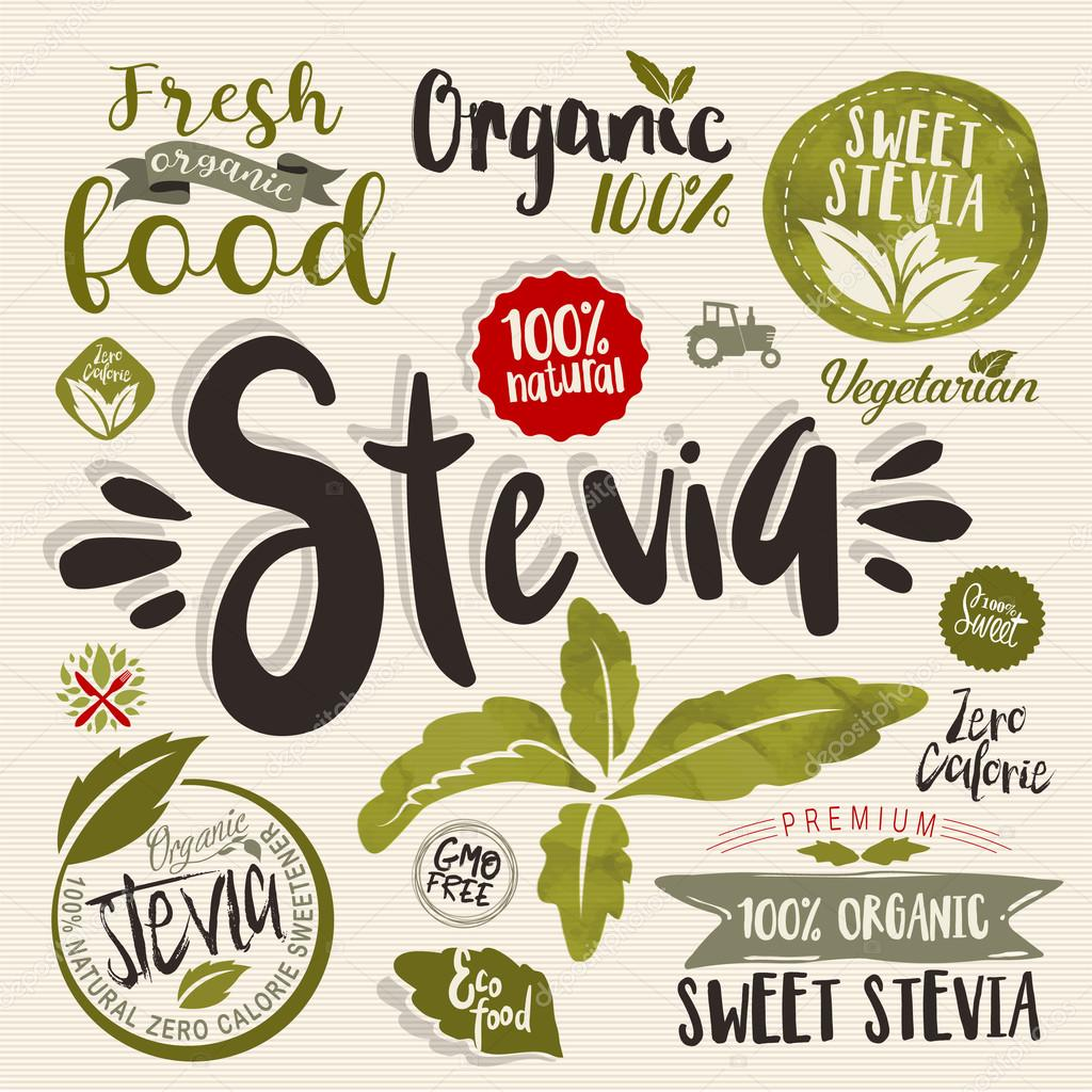 Stevia and Organic food label Set