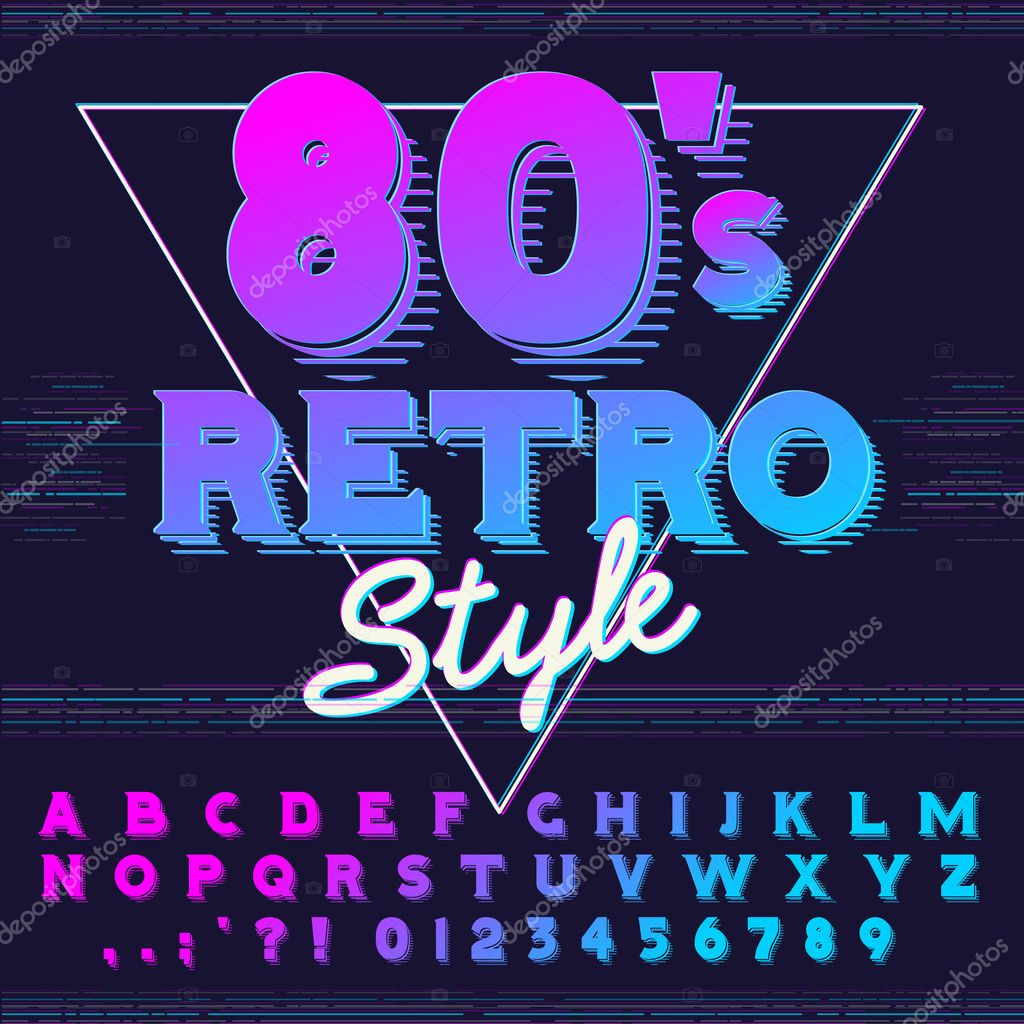 80s poster design - 80 S Retro Alphabet Font Retro Alphabet Vector Old Style Graphic Poster Eighties Style Graphic Template Vector By Brainpencil1