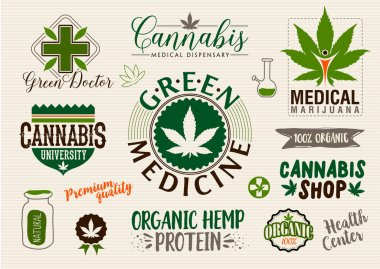 Medical marijuana product label and logo graphic template