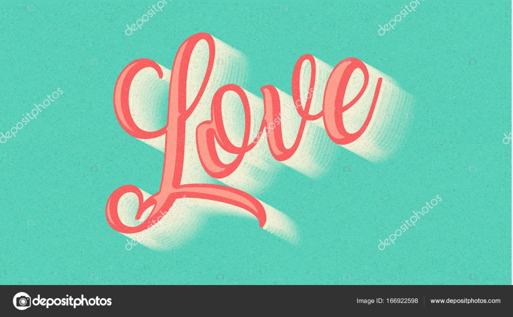 Love Text Hand Drawn Lettering On Blue Paper Background Lovely Follow Your Heart Romantic Type I You Have Greeting Sign Message Decoration