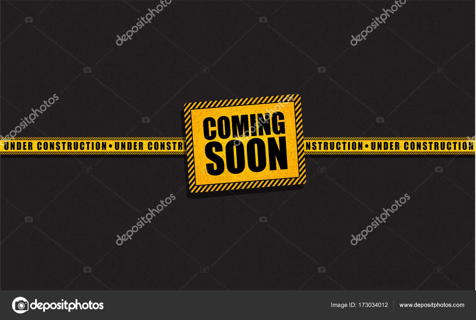 coming soon and under construction trendy yellow banner