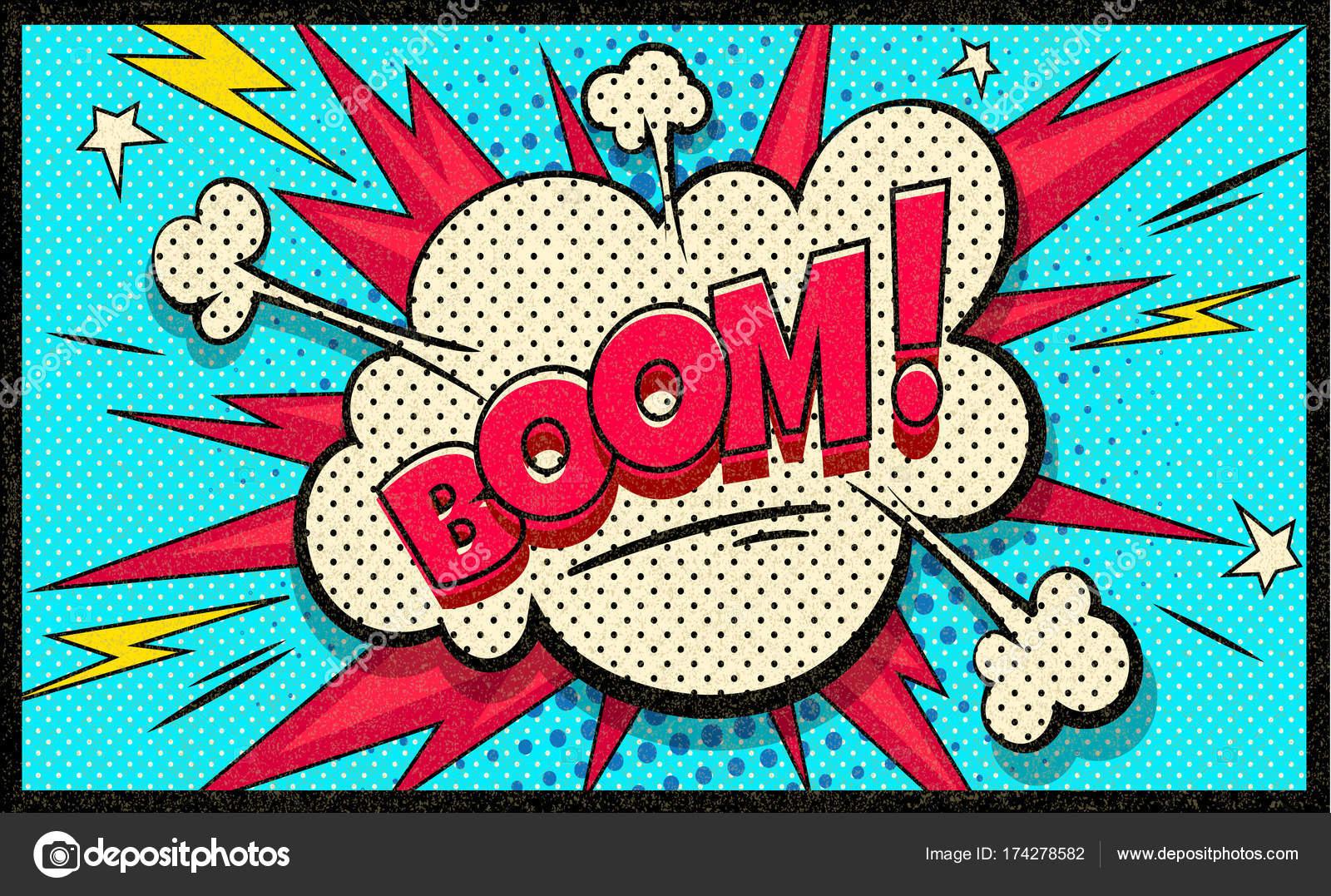 Burbuja de nube de auge del arte pop. Bocadillo de diálogo divertido ...
