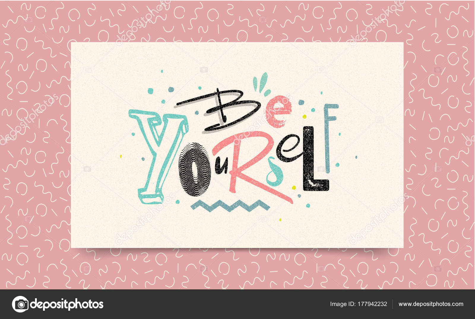 Be Yourself. Inspirational Quote About Love Yourself. Brush Calligraphy,  Vector Letters On White Paper Background For Card, Poster And Banner.