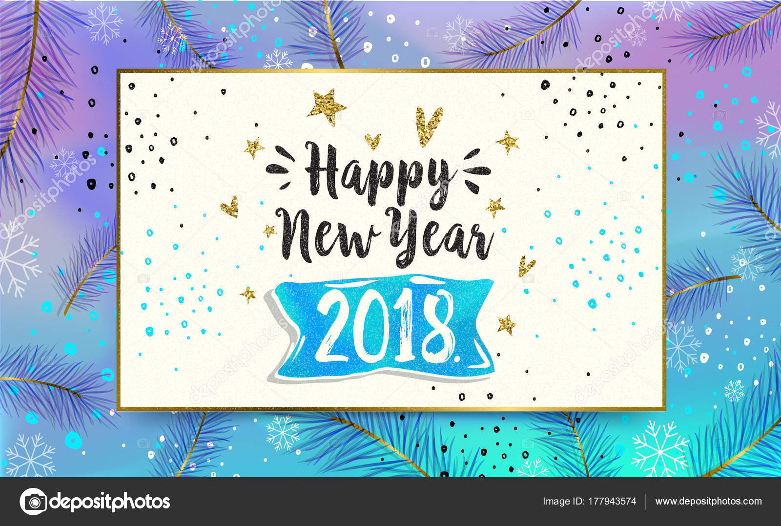 happy new year card 2018 greeting winter banner poster calligraphy stock vector