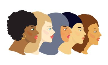 : Five female faces of different cultures and nations in profile. Cartoon color vector illustration isolated on a white background.