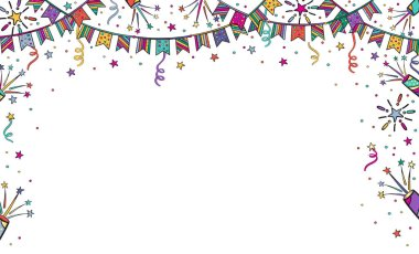 Festive background for birthday, children's party with garlands, fireworks. Bright vector illustration banner with free place for text on white background.