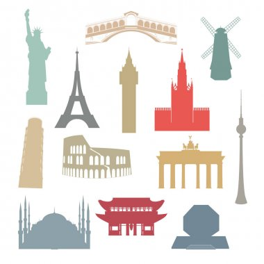 World famous architectural landmarks. Set of color isolated silhouette icons.