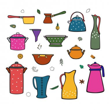 Kitchenware and variety of pots, jugs, spices. Cartoon color vector icons set for design menus, posters, cookbooks. Isolated objects on a white background.