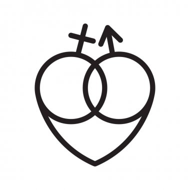 Gender sexual signs and heart. Graphic vector icon isolated on a white background.