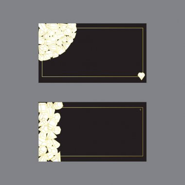 Business cards templates illustrated with crystals and precious stones. . Set of isolated vectors with a golden gradient on a black background.