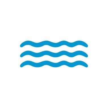Blue waves on a white background. Cartoon hand drawing isolated on a white background. Vector icon.