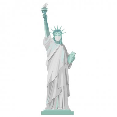 Coronovirus pandemic in the USA. Statue of Liberty in a medical mask. Vector color isolated illustration on a white background.