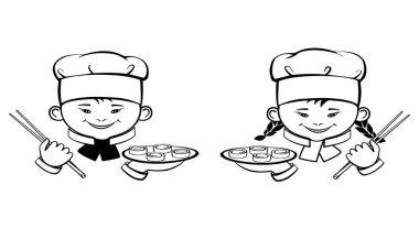 Smiling girl and boy. Cute cartoon little cooks with sushi. Logo vector icon isolated on white background. Hand drawing.