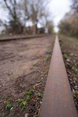 Train track in denmark. closeup rust on the tracks