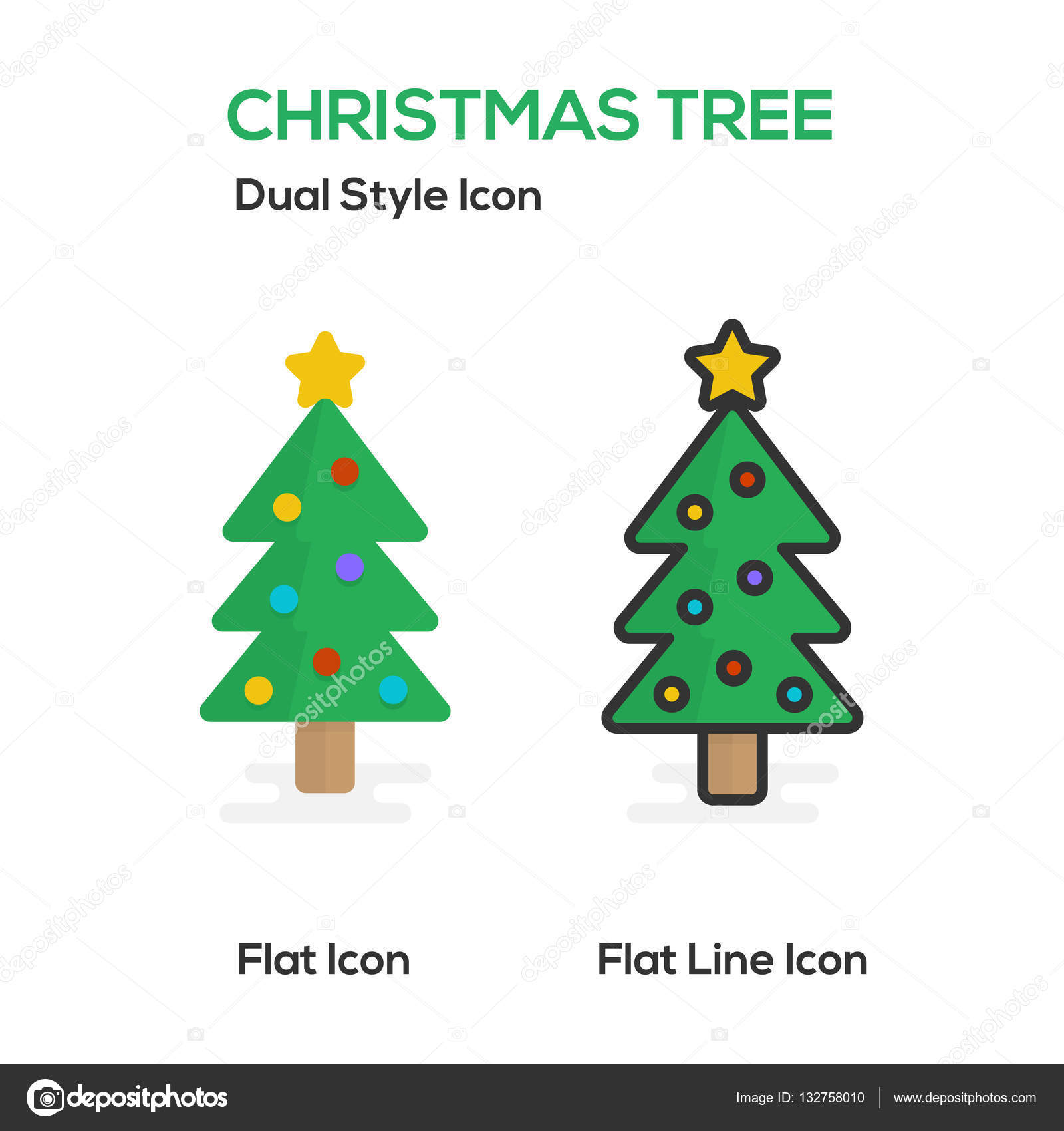Christmas Tree Flat Icon And Flat Line Icon. — Stock Vector ...