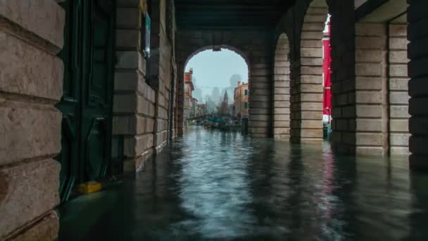 Timelapse of flooded pedestrian street