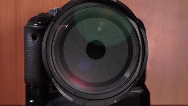 Aperture of the photographic lens opens