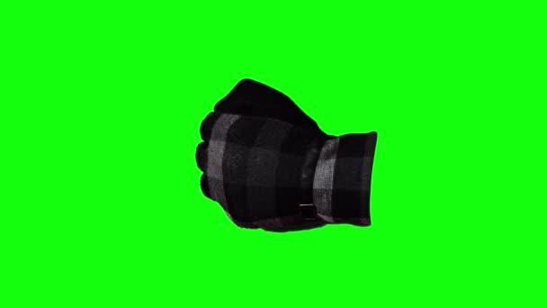 Kesztyűs kézzel húzza fel a hüvelykujját a zöld képernyőn