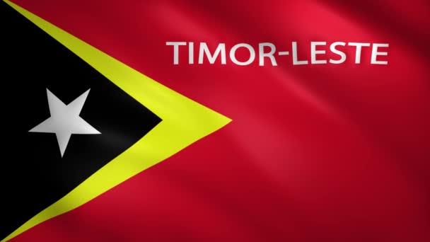 Timor Leste lobogó az ország nevével