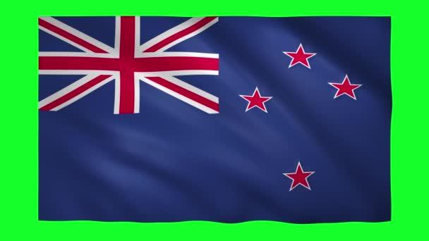 New Zeland flag on green screen for chroma key