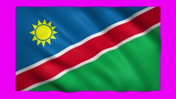 Namibia flag on green screen for chroma key