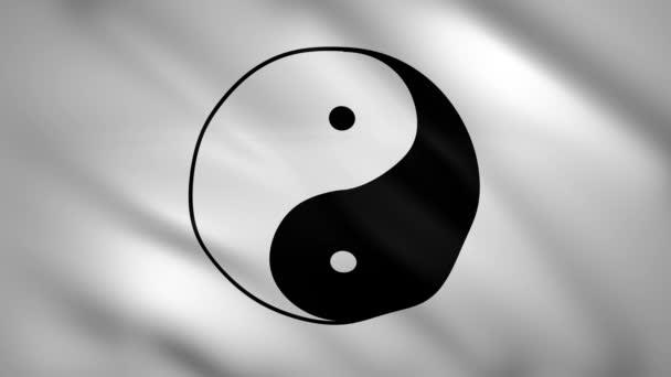 Yin Yang symbol na černé a bílé vlajce