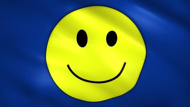 Úsměv s žlutým úsměvem na modré vlajce