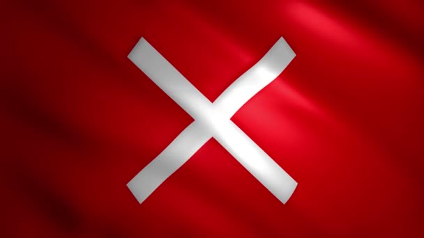 X symbol on moving red flag