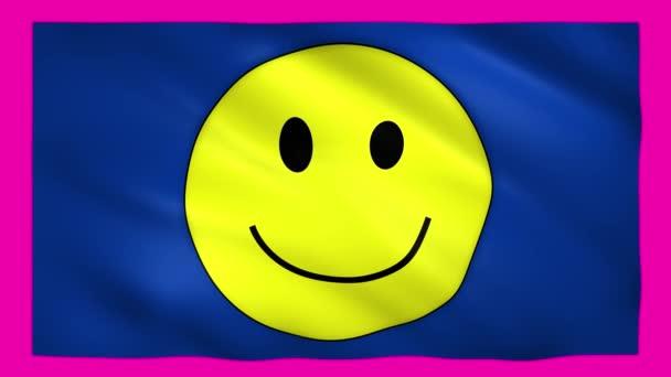 Úsměv tvář se žlutým úsměvem na modré vlajce na zelené obrazovce