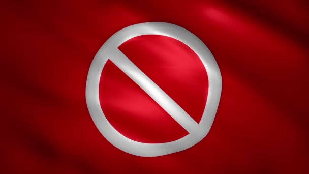 Prohibition symbol on red moving flag