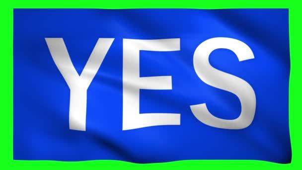 ANO napsáno na modré vlajce na zelené obrazovce