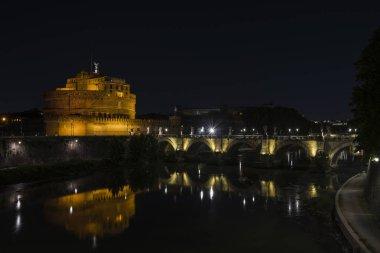 """Картина, постер, плакат, фотообои """"знаменитый замок сан-анджело или мавзолей адриан в риме ночью, италия """", артикул 332459274"""