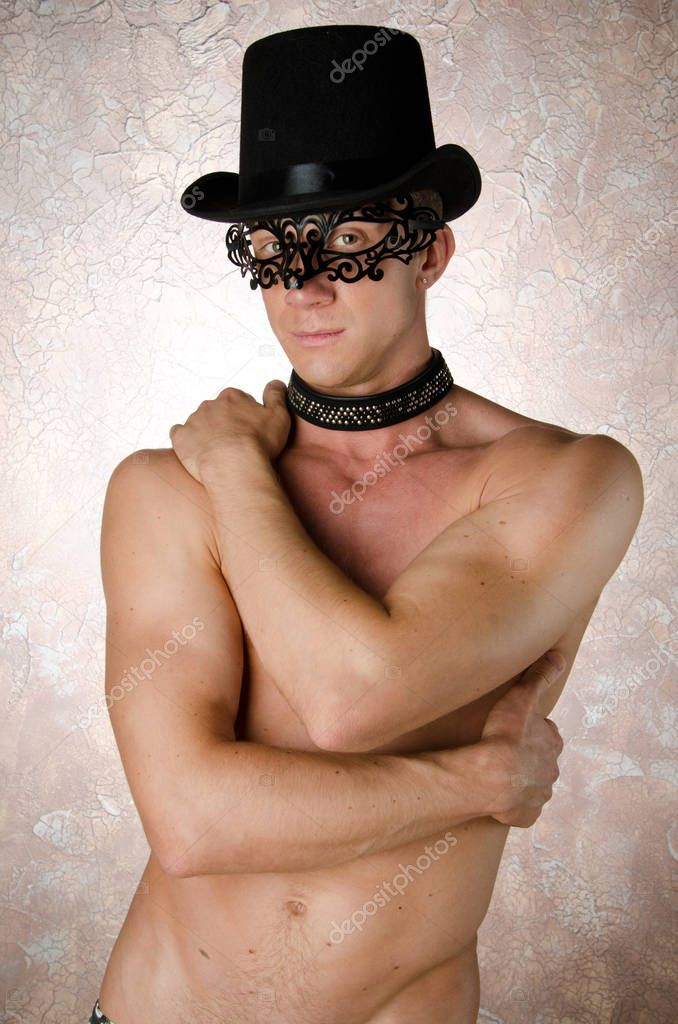 Sexy guy in a mask.– stock image