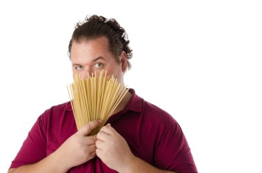 Funny fat cook. White background.